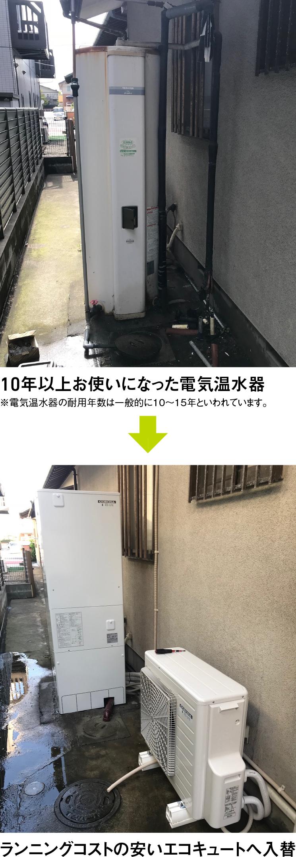 10年以上お使いになった電気温水器をランニングコストの安いエコキュートへ入替